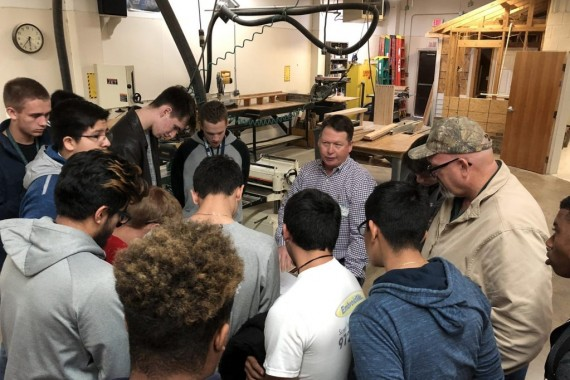 Michael Turner Returns to the Building Trades Classroom